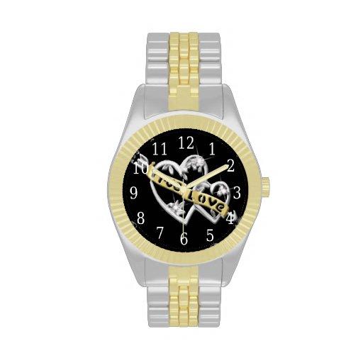 Reloj unido amor verdadero de los corazones