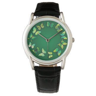Reloj verde de la novedad de la mariposa