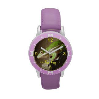 Reloj verde de la rana arbórea