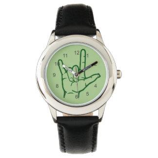 Reloj verde del ASL te amo