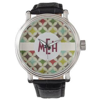 Reloj verde del monograma del extracto del