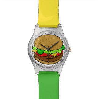 Reloj verde del tiempo de la hamburguesa y amarill