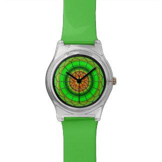 Reloj verde del vitral