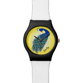 Reloj verde personalizado del pavo real May28th