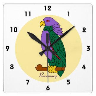 Reloj verde púrpura del loro de los niños lindos