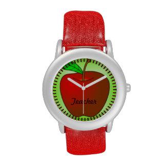 Reloj verde rojo personalizado del brillo del prof