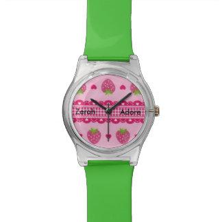 Reloj verde rosado del nombre de Gongham de los co