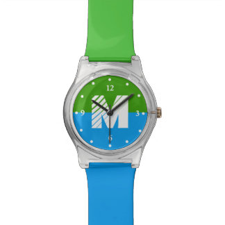 Reloj verde y azul del monograma del bloque del co