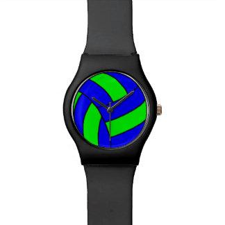 Reloj verde y azul del voleibol
