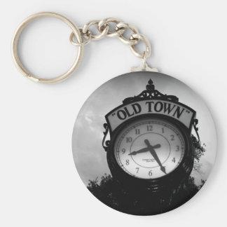 Reloj viejo de la ciudad llavero redondo tipo pin