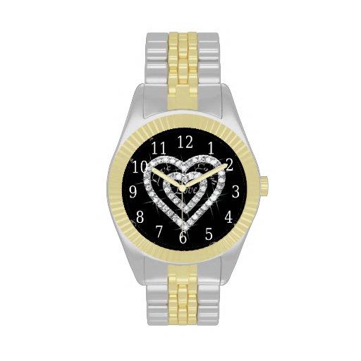 Reloj vivo del corazón del diamante del amor de la