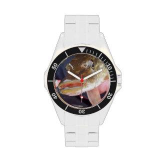 Reloj y banda de acero con la foto del lucio