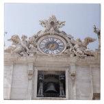 Reloj y Bell, Ciudad del Vaticano, Roma, Italia Azulejo Cuadrado Grande