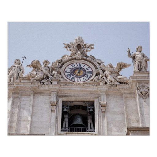 Reloj y Bell, Ciudad del Vaticano, Roma, Italia Póster