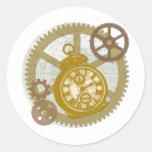 Reloj y engranajes de Steampunk Etiquetas Redondas
