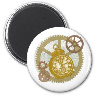 Reloj y engranajes de Steampunk Imán De Frigorifico