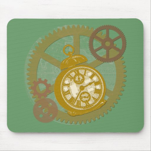 Reloj y engranajes de Steampunk Mouse Pads
