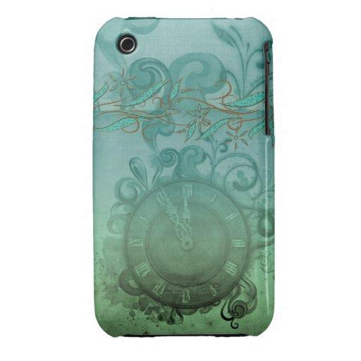 reloj y remolinos de tiempo bonito del steampunk iPhone 3 funda