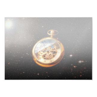 """Relojero - tiempo de espacio invitación 5"""" x 7"""""""