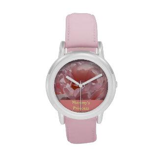 Relojes color de rosa rosados de la flor de los re