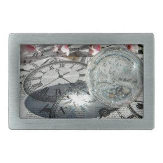 Relojes cristalinos hebilla cinturón rectangular