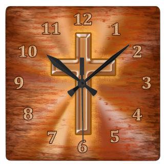 Relojes cristianos con el fondo del Grunge de la c