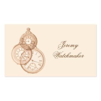 Relojes de bolsillo antiguos decorativos en marrón tarjetas de visita