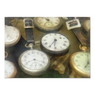 """Relojes de bolsillo del vintage invitación 5"""" x 7"""""""
