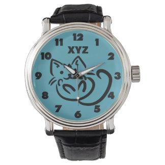 Relojes de encargo del color del ejemplo del gato