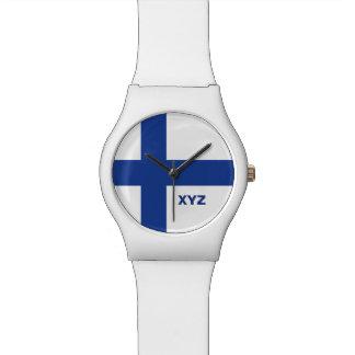 Relojes de encargo del monograma de la bandera fin