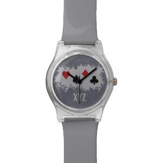 Relojes de encargo del monograma del chapoteo de l