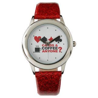 Relojes de las tarjetas y del café