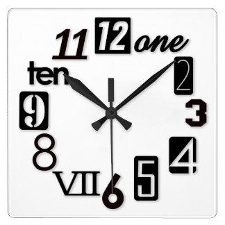 Relojes de pared cuadrados enrrollados de Numbra
