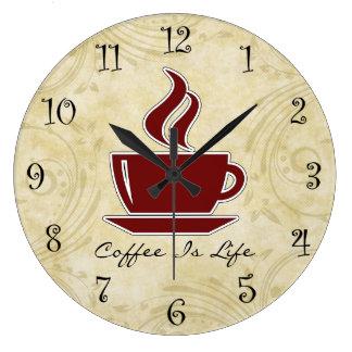Relojes de pared de la cocina del café