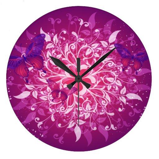 Relojes de pared del arte 17 de la mariposa y opci