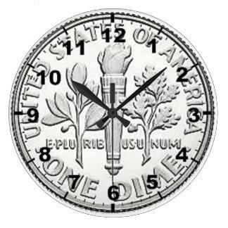"""""""Relojes de pared del diseño de la moneda de la Reloj Redondo Grande"""