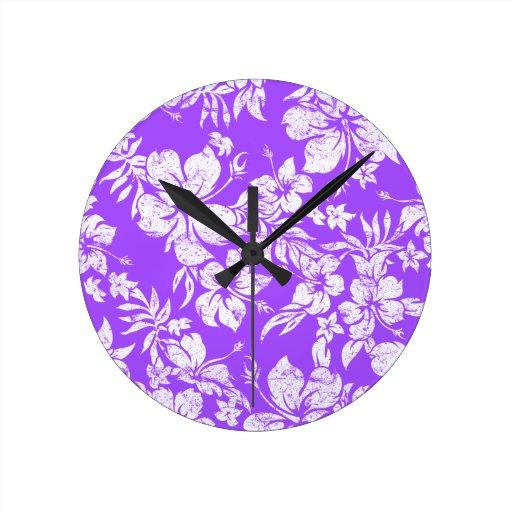 Relojes de pared hawaianos de Pareau del hibisco