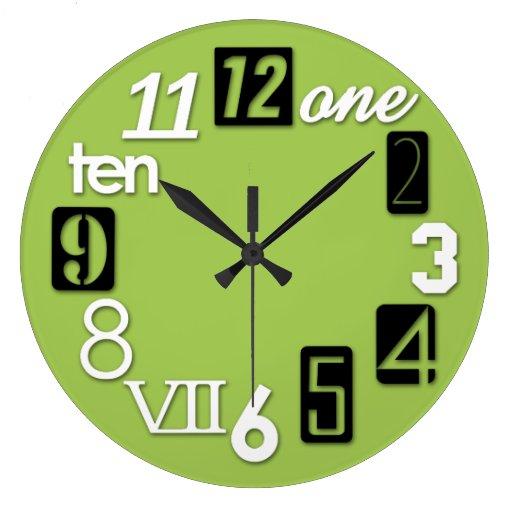 Relojes de pared redondos enrrollados de la verde