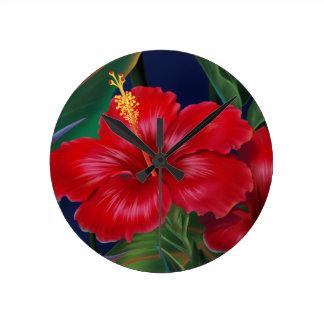 Relojes de pared tropicales del hibisco del paraís