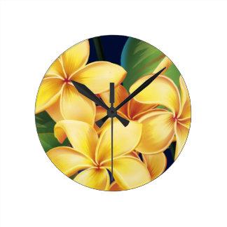 Relojes de pared tropicales del Plumeria del paraí