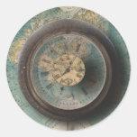 Relojes de Steampunk del mapa del mundo del reloj Etiqueta Redonda