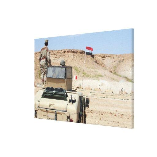 Relojes de un instructor como soldado iraquí del e impresion en lona