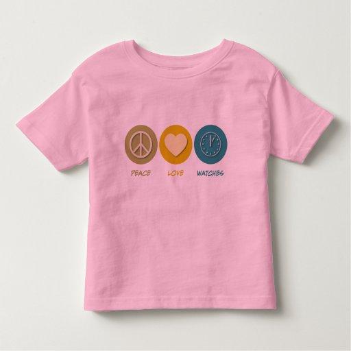 Relojes del amor de la paz camisetas