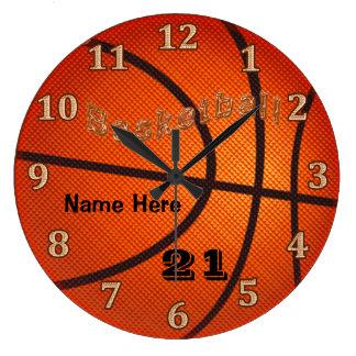 Relojes del baloncesto con NÚMERO del nombre y del