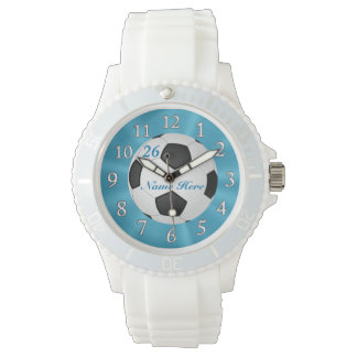 Relojes del fútbol de la turquesa con NOMBRE y