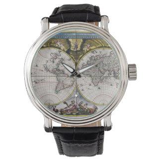 Relojes del mapa del mundo del vintage 1664) (
