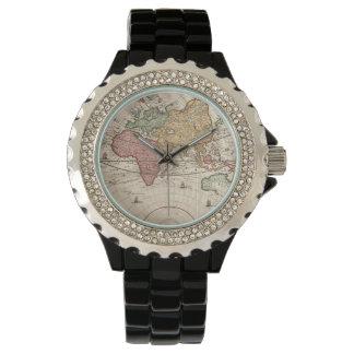 Relojes del siglo XVII del mapa del mundo