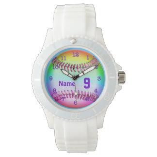 Relojes del softball con SU NÚMERO y NOMBRE del