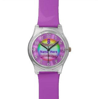 Relojes del softball del arco iris para los chicas