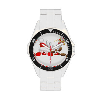 Relojes divertidos del dibujo animado de Santa y d